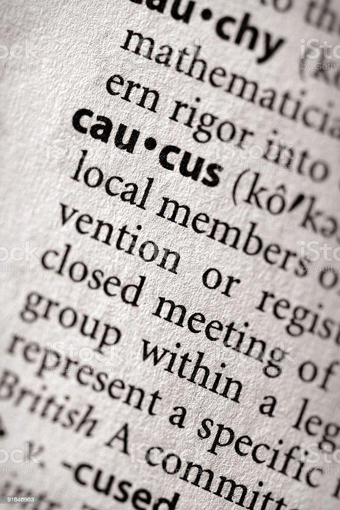Dictionary Series - Politics: Caucus stock photo