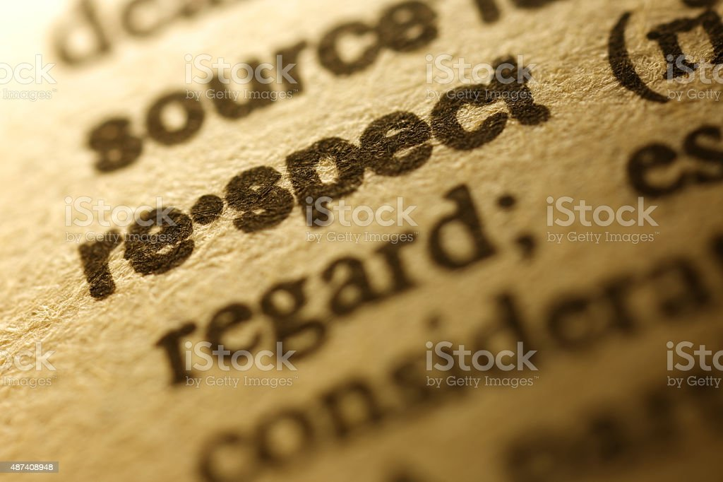 Dictionary Series - Respect stock photo