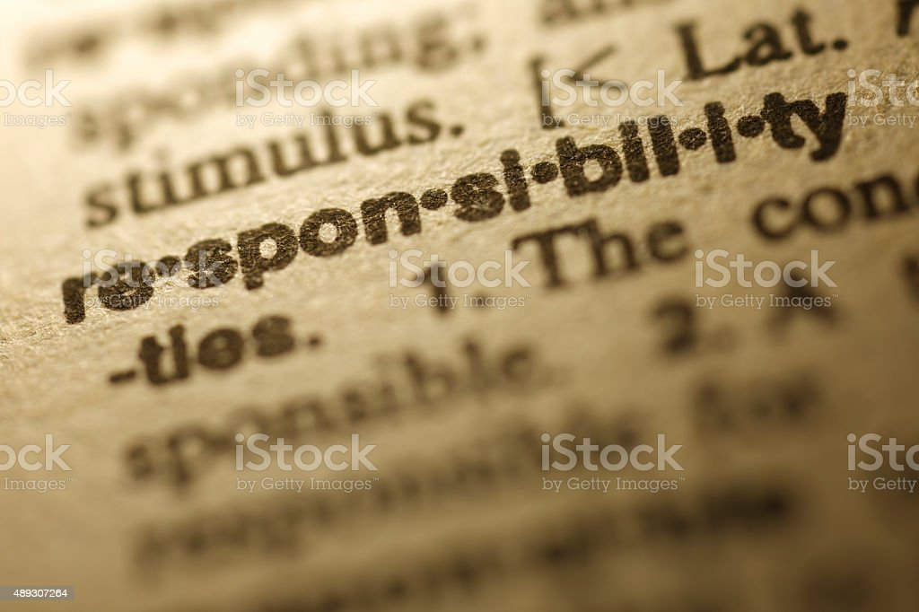 Dictionary Series - Responsibility stock photo
