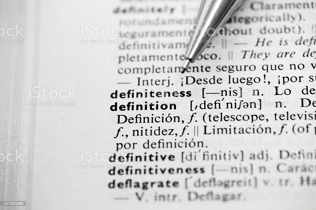Dictionary with word 'definition' stock photo