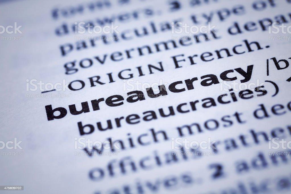 Dictionary word close-up of Bureaucracy stock photo