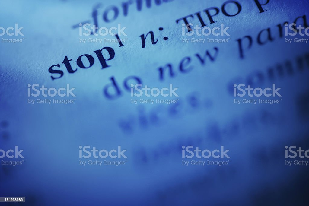 Dictionary word: stop royalty-free stock photo