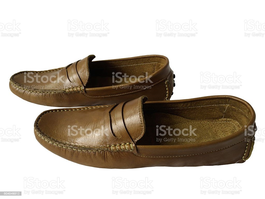 di-cut leather shoe on white background1 stock photo
