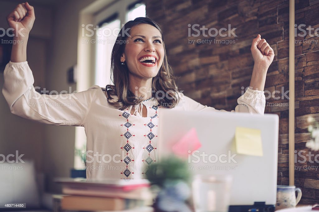 I did it! I got the project! stock photo