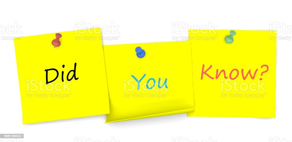 Did You Know, message on note paper with pin, 3D rendering stock photo