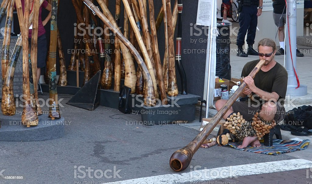 Didgeridoo player at Ann Arbor Art Fair stock photo