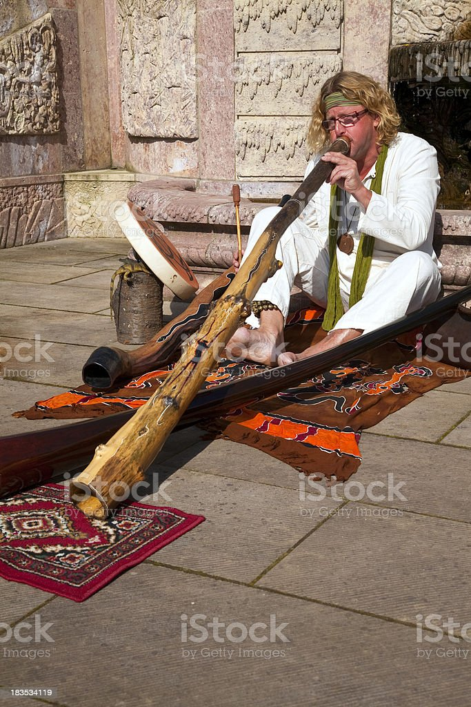 didgeridoo player stock photo