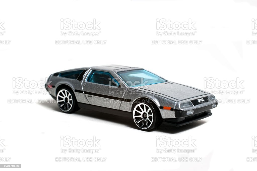 Die cast toy car of the DMC Delorean stock photo