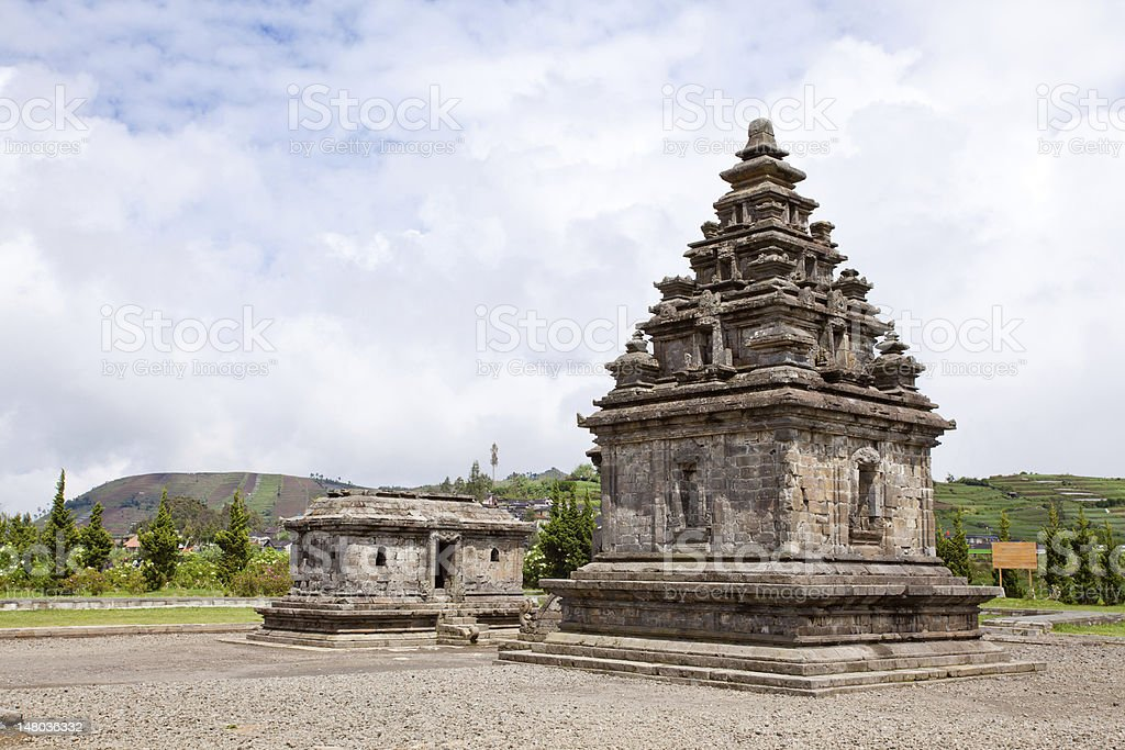 Dieng temple Arjuna complex Indonesia stock photo
