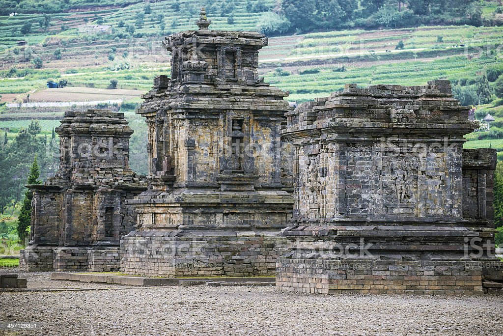 Dieng temple Arjuna complex plateau National Park Wonosobo , Indonesia stock photo