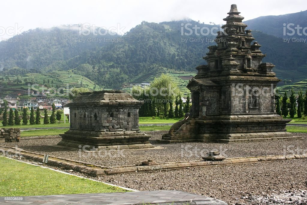 Dieng temple Arjuna stock photo