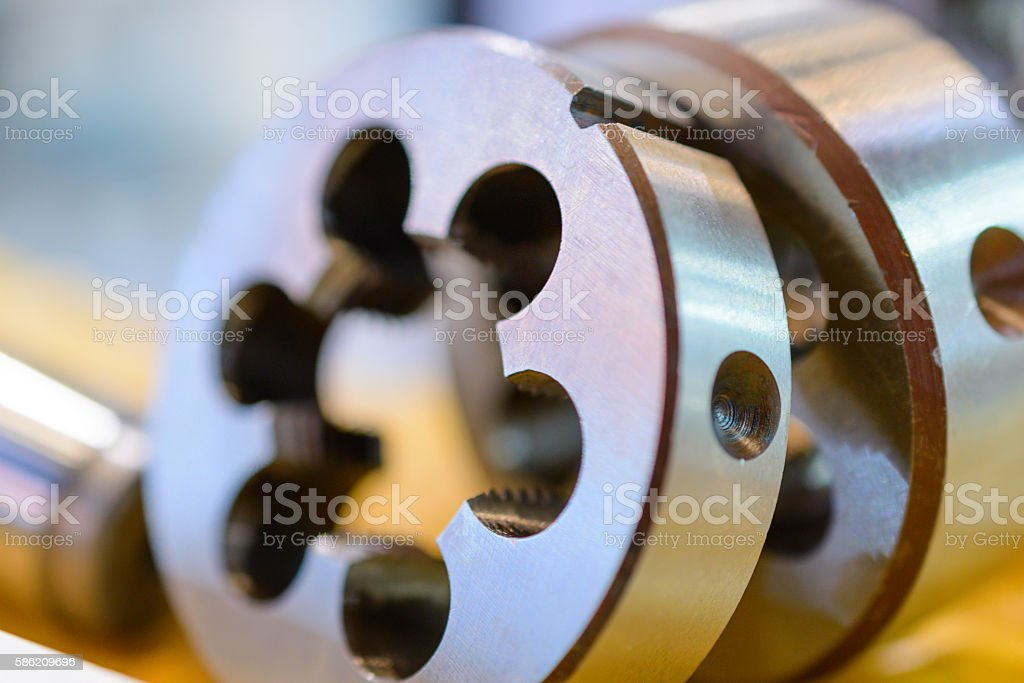 Dies for threading, a photo close up. stock photo