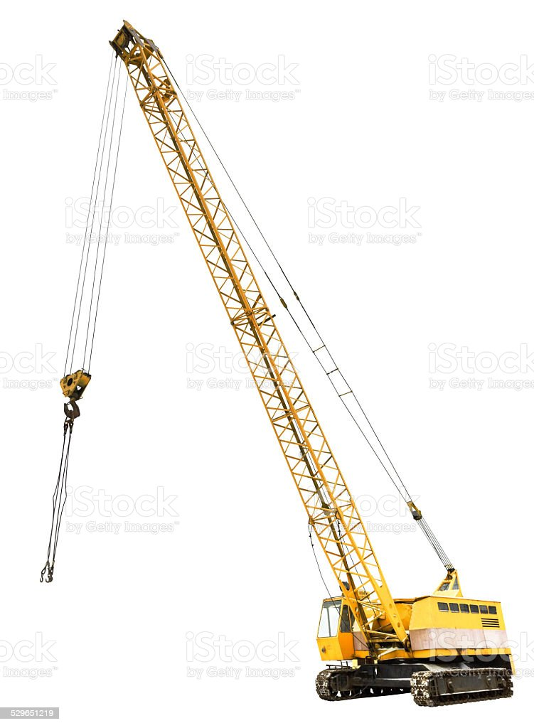 diesel electric yellow crawler crane isolated stock photo