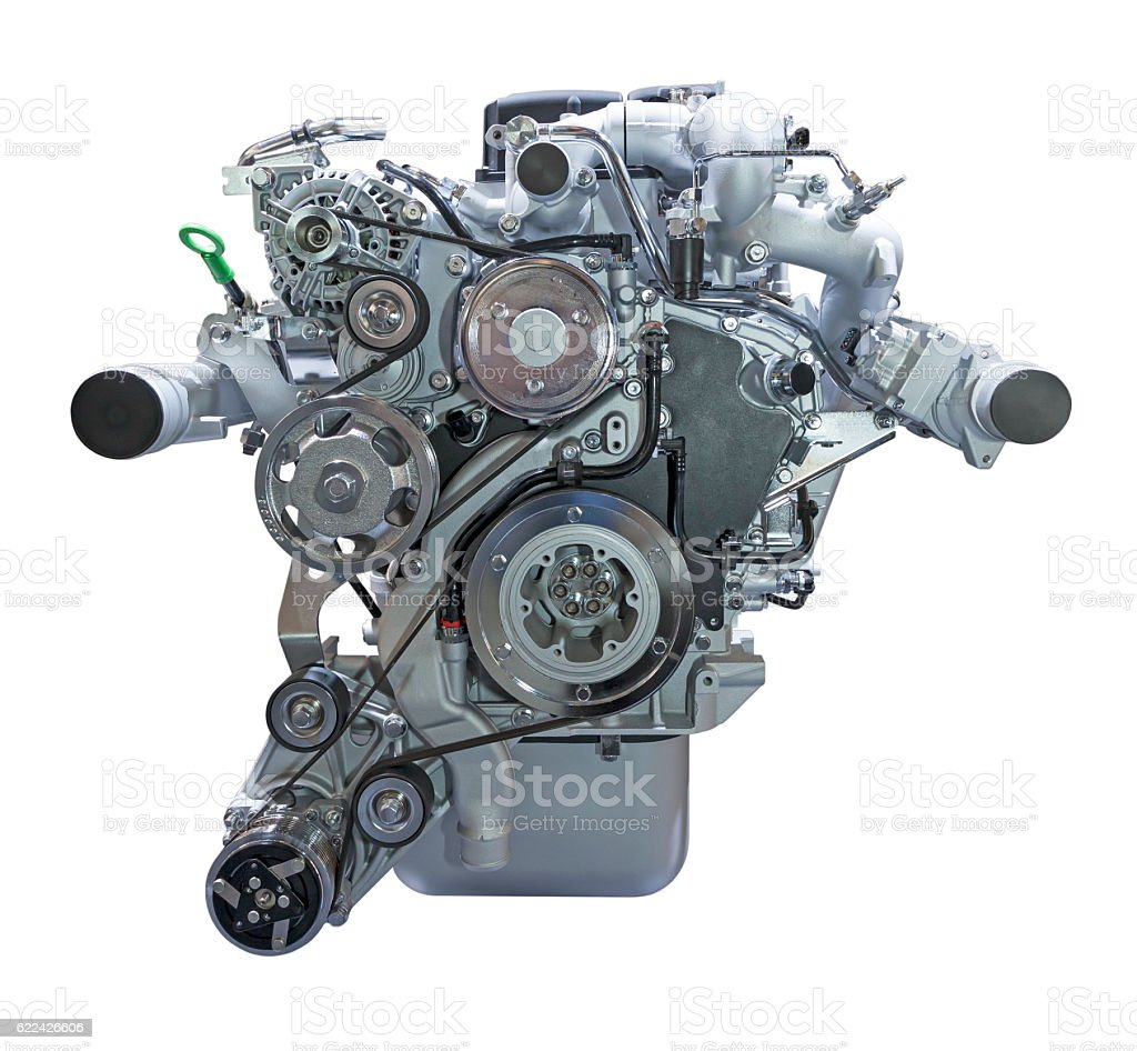 Diesel engine isolated on white stock photo