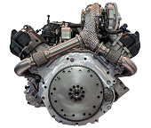Diesel engine isolated over white