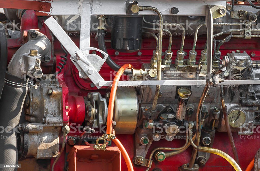 Diesel engine part of power plant stock photo