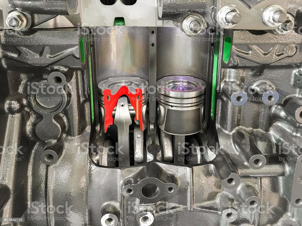 Diesel Engine piston cross section , display inside materials. stock photo