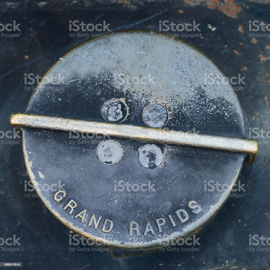 Diesel Fuel Cap Labeled Grand Rapids stock photo