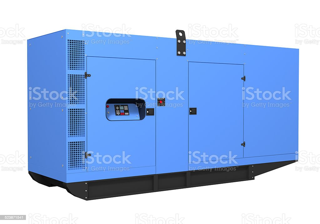 Diesel generator isolated on white background stock photo