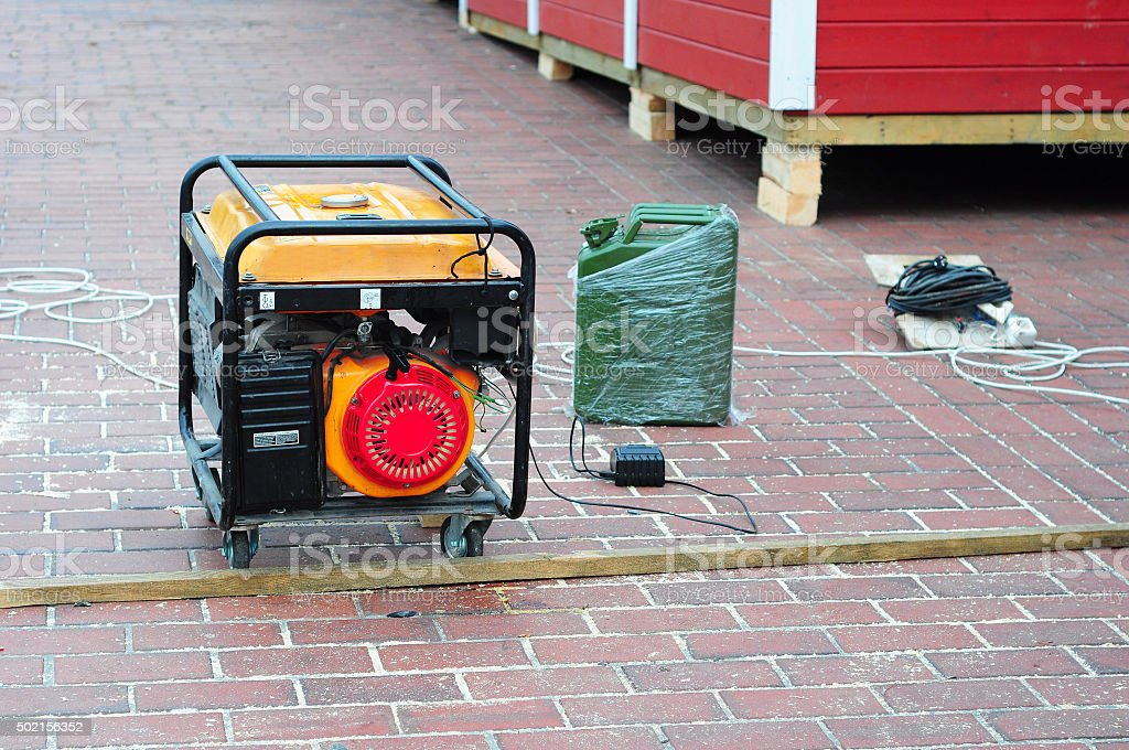 Diesel Generator on the Construction Site Background. stock photo