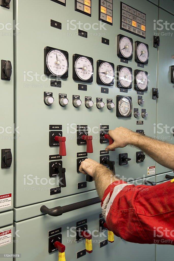 Diesel Generator Synchro Panel stock photo