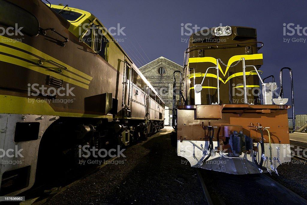 diesel locomotives stock photo