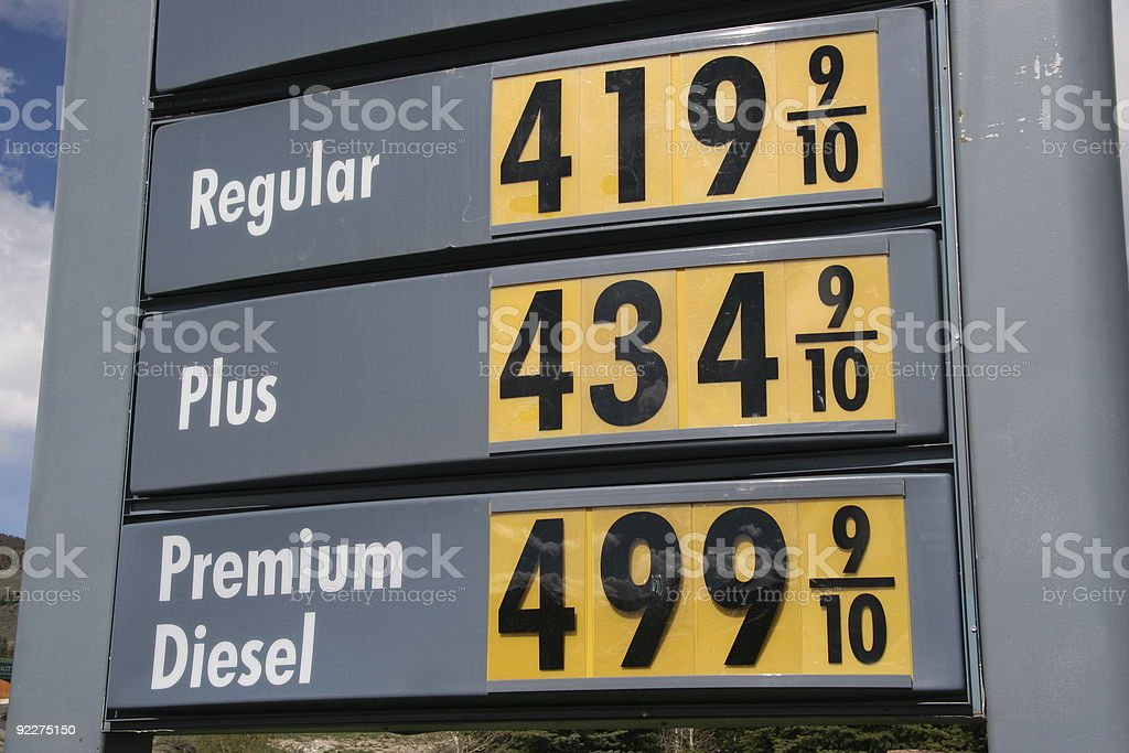 Diesel Price 5 Dollars a Gallon stock photo