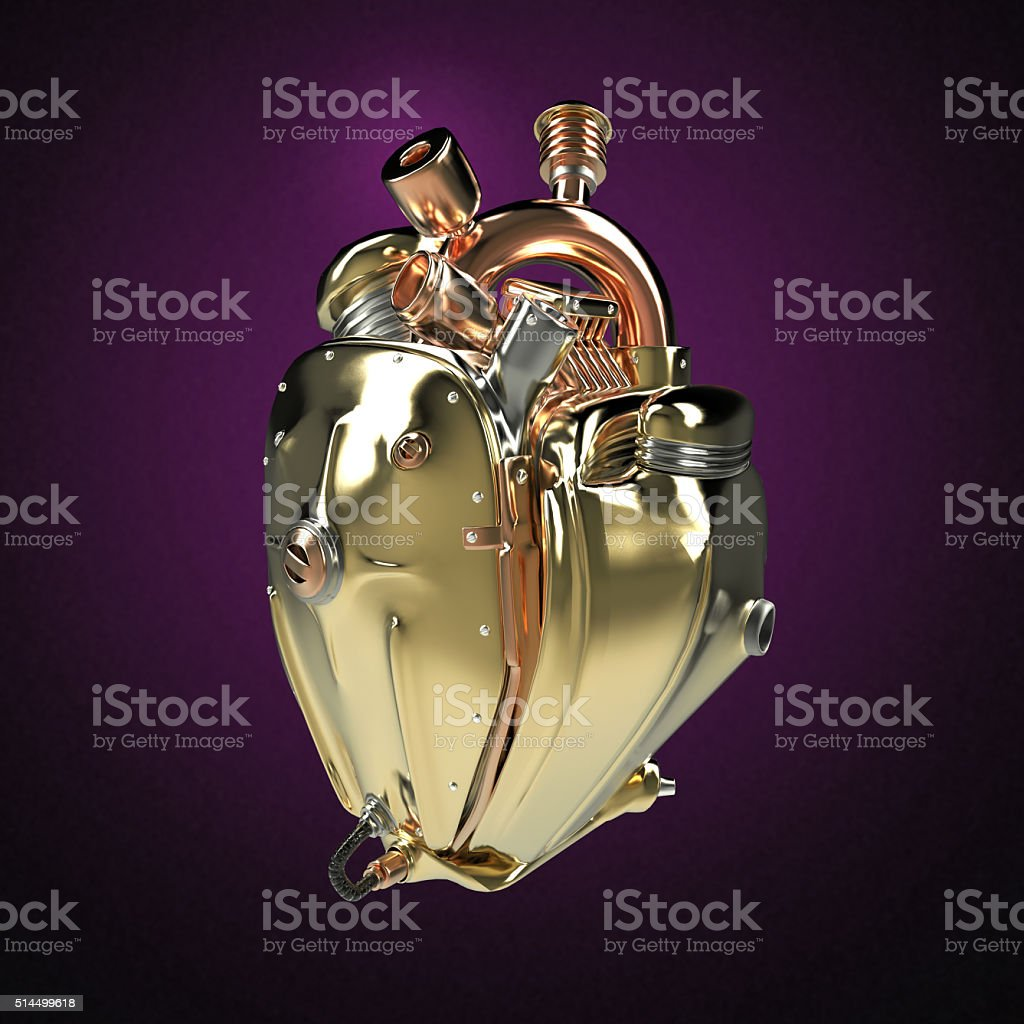 Diesel punk robot techno heart. engine with pipes, radiators and stock photo