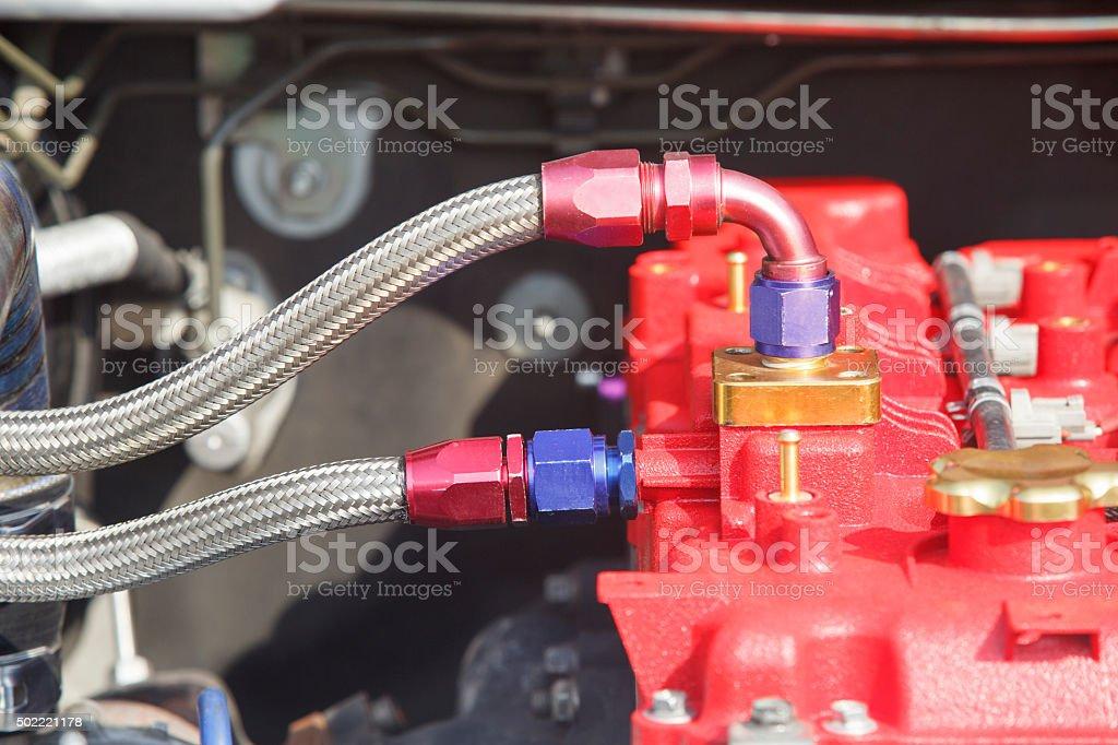 Diesel racing car engine stock photo