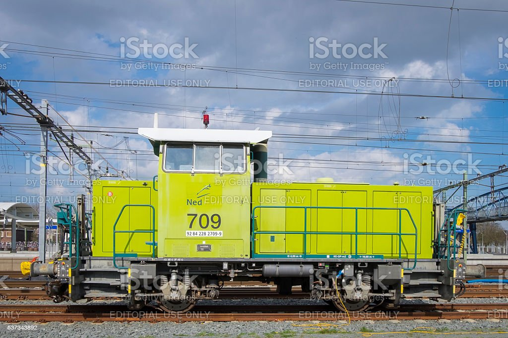 Diesel shunting locomotive at the Zwolle train station stock photo
