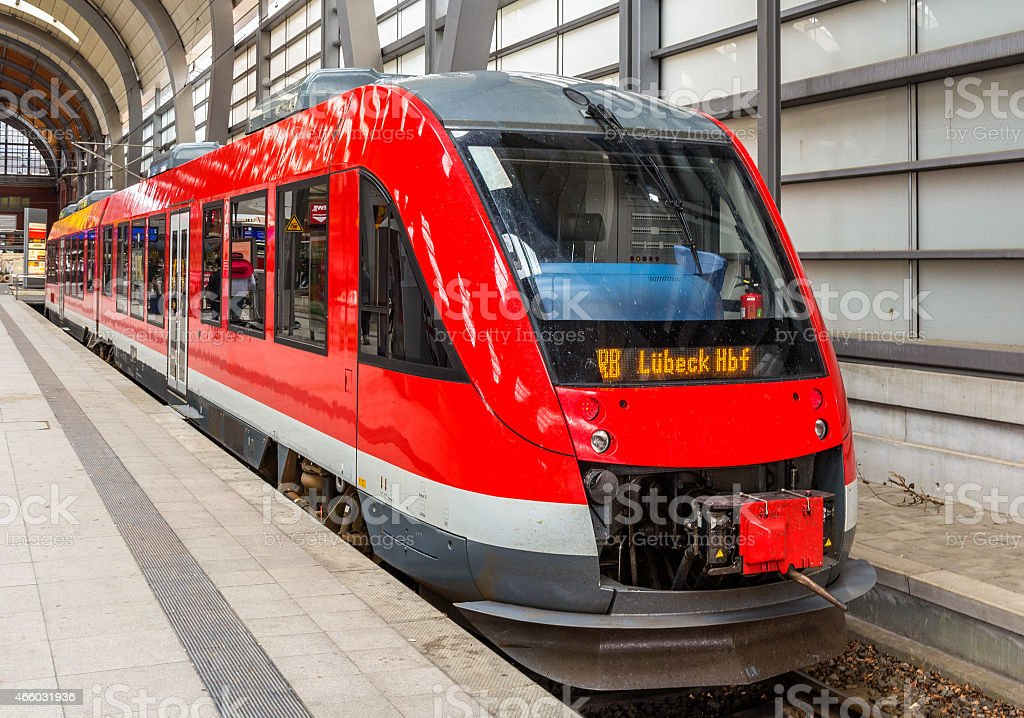 Diesel suburban train in Kiel Central Station - Germany stock photo