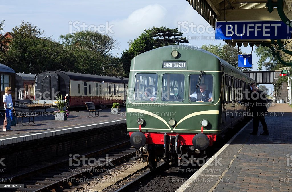 Diesel train at Sheringham railway station stock photo