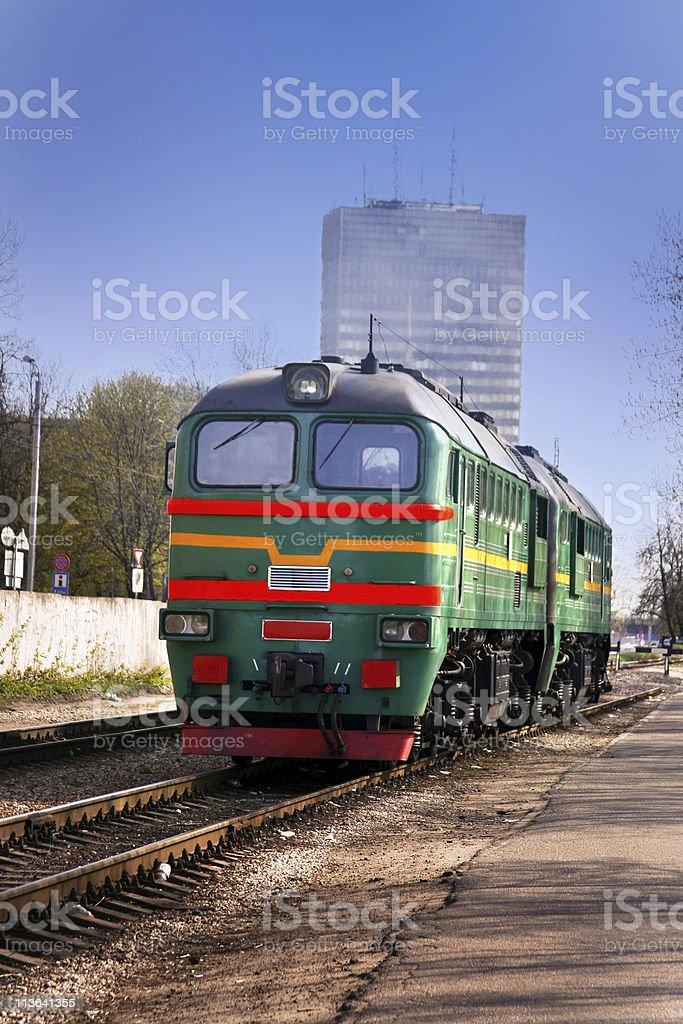 Diesel Train in center of Riga stock photo
