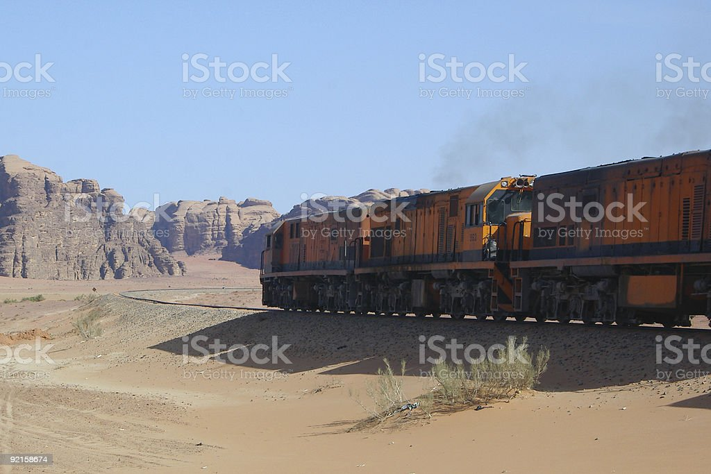 diesel train in desert stock photo