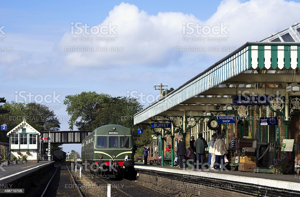 Diesel train in Sheringham station royalty-free stock photo