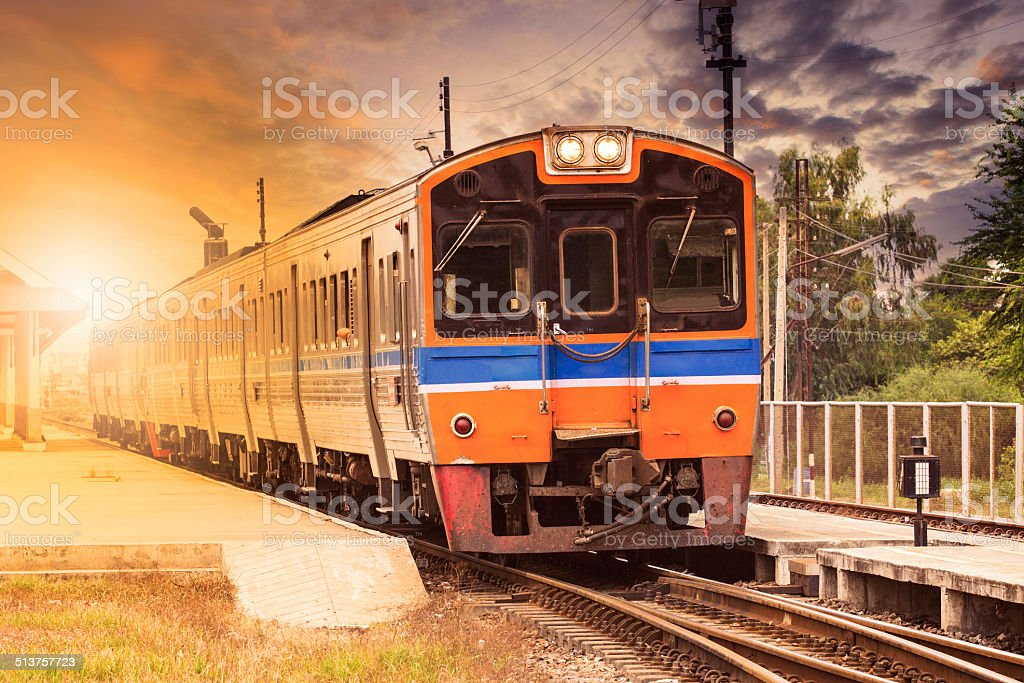 diesel trains on station stock photo