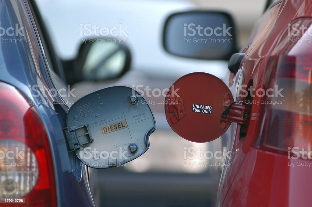 diesel versus gasoline stock photo