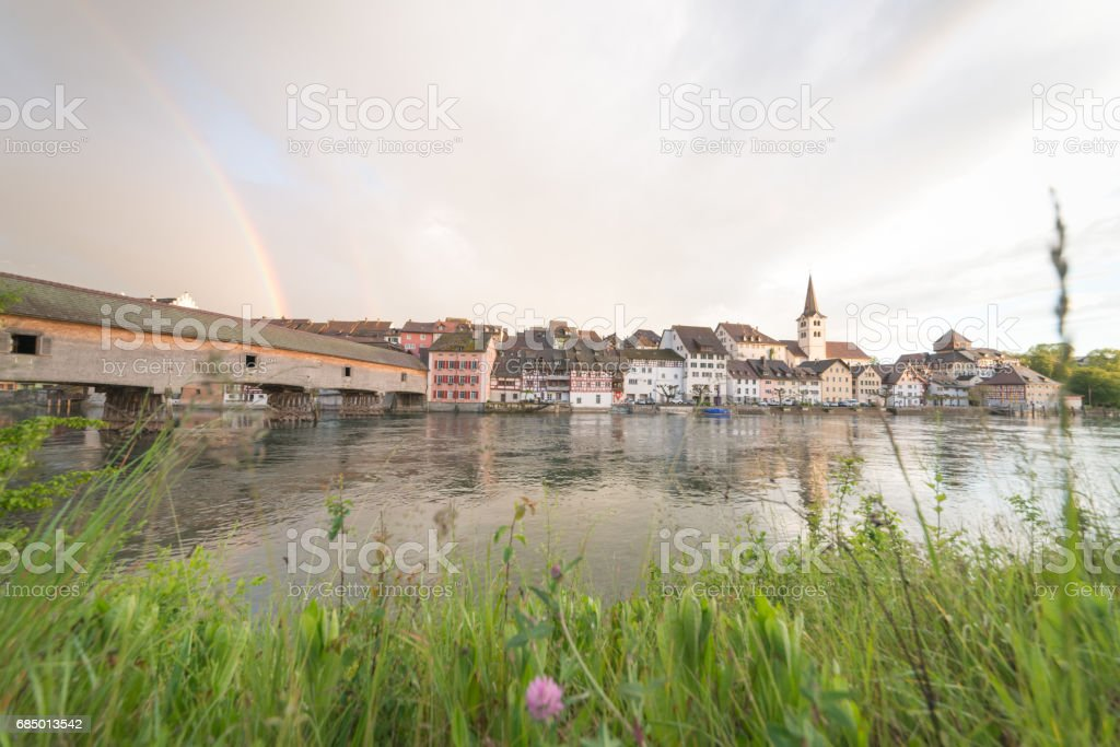 Diessenhoffen in switzerland Ultra wide angle with rainbow stock photo