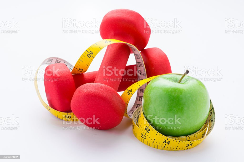 Diet and exercise concept stock photo