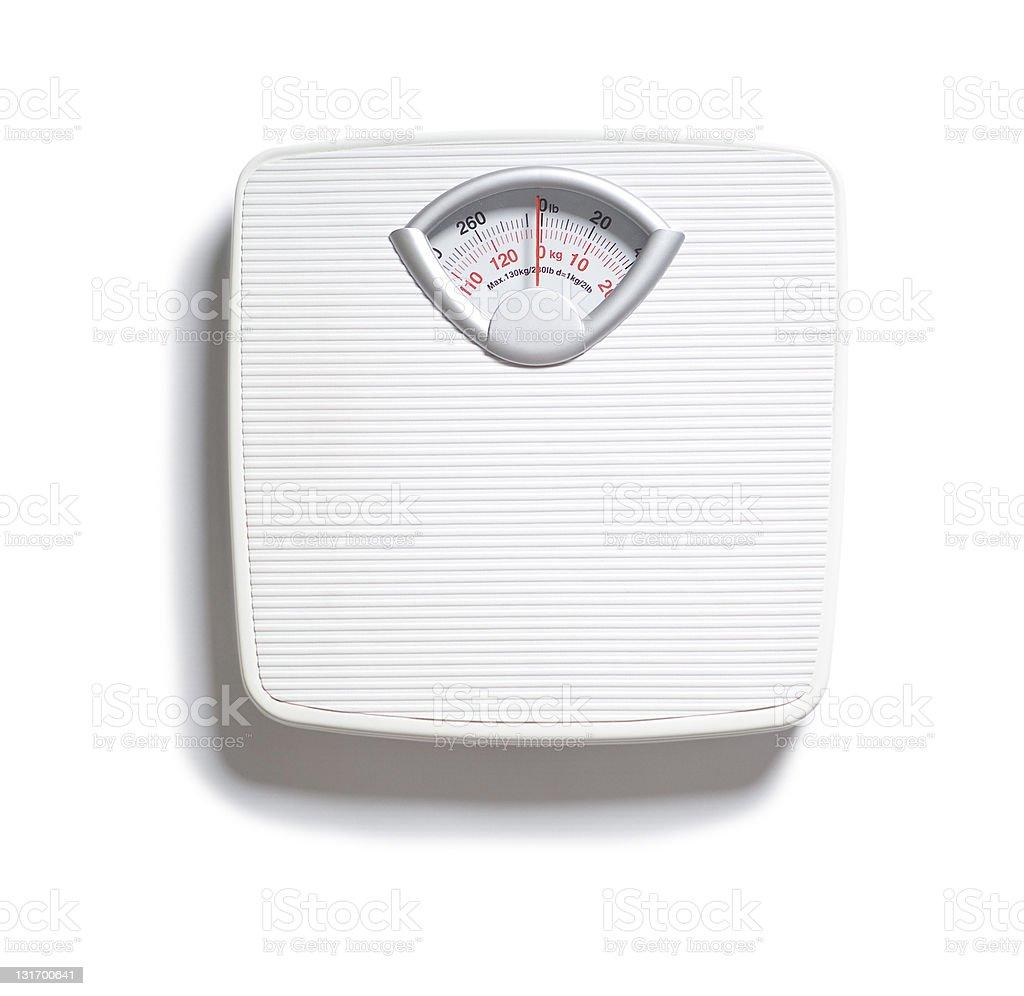 Diet bathroom scale on white stock photo