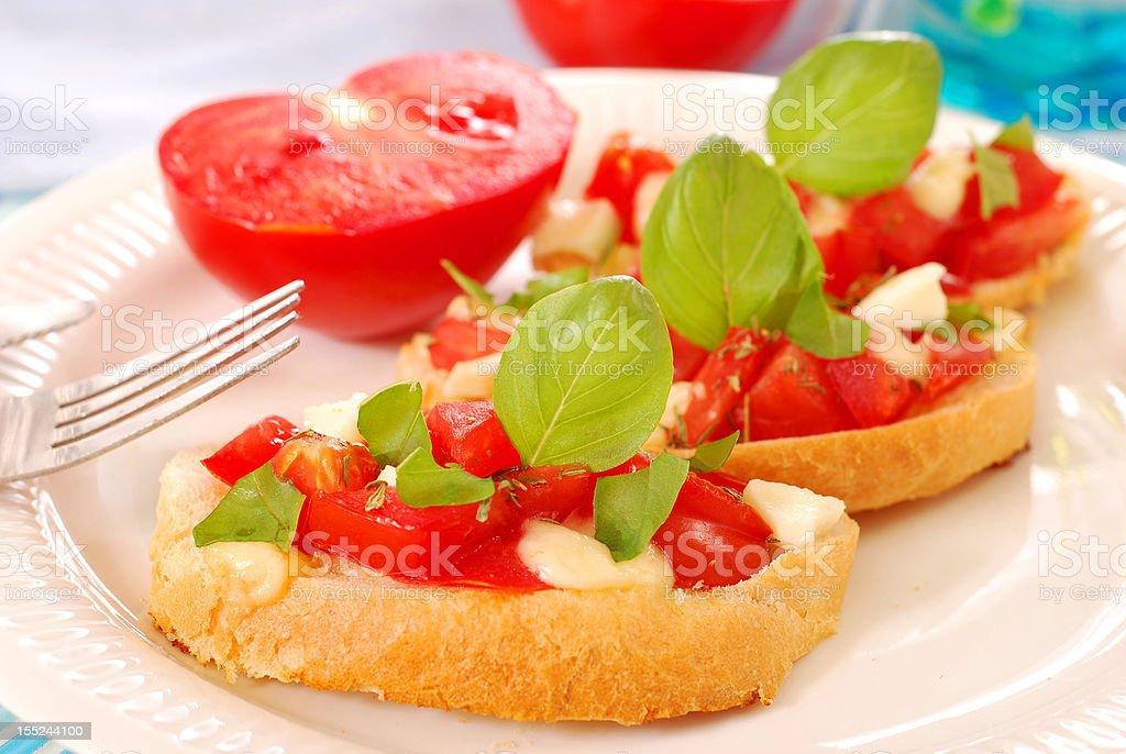 diet breakfast with bruschetta royalty-free stock photo