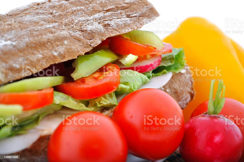 diet brown baguette with vegetable royalty-free stock photo