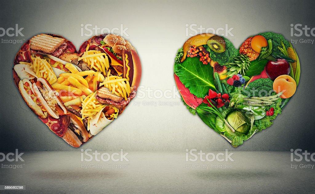Diet choice dilemma and heart health concept stock photo