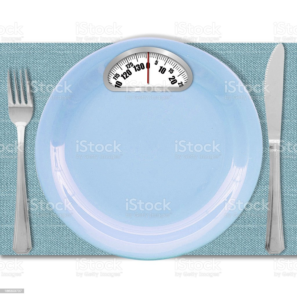 Diet concept. Plate with scales royalty-free stock photo