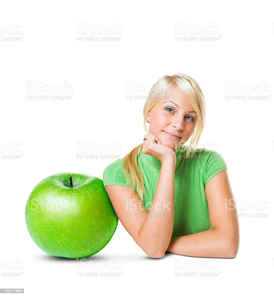 Diet concept with beautiful young blonde. royalty-free stock photo
