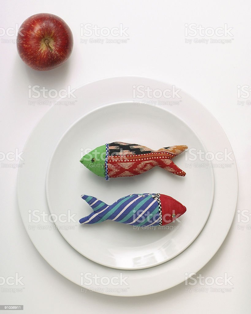 Diet fish and apple royalty-free stock photo
