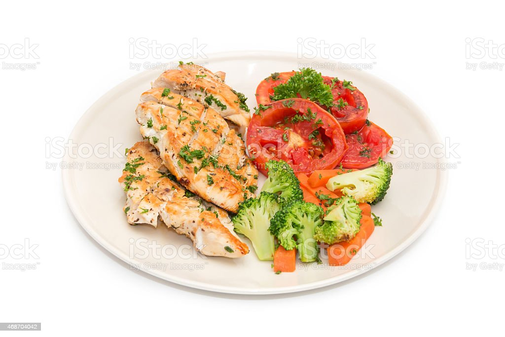 Diet food, Clean Eating, Chicken Steak with grilled vegetables stock photo