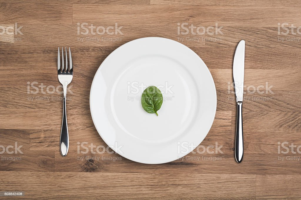 Diet food, single leaf on white plate stock photo