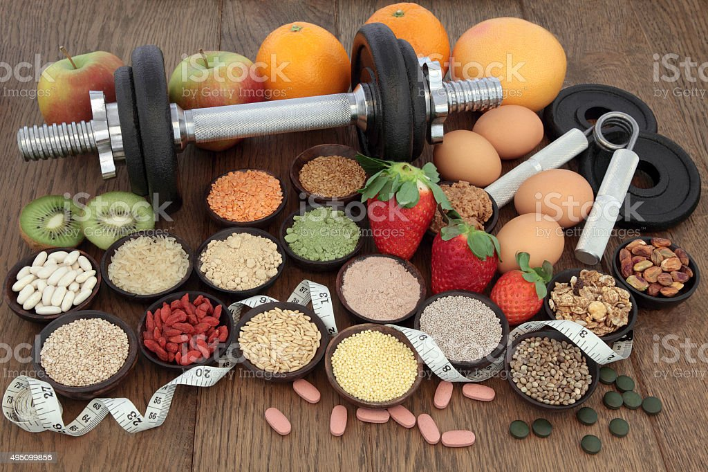 Diet Health Food and Training Regime stock photo