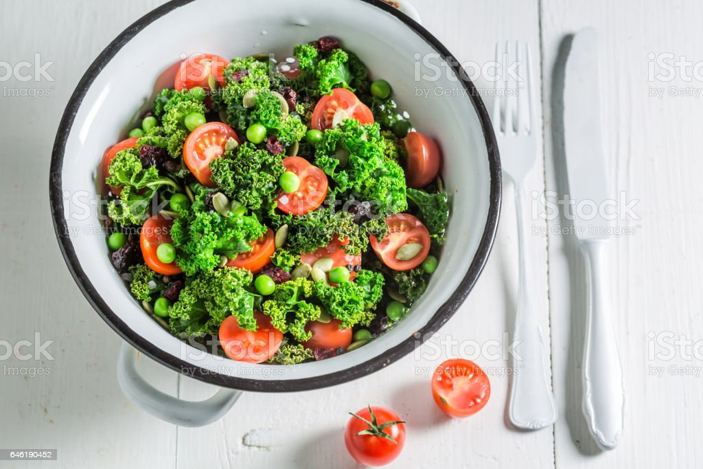 Diet kale salad full of vitamin and minerals stock photo